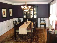 My eggplant purple dining room, I chose this color on a whim and everyone seems to like it. The color is Black Raspberry by Benjamin Moore., The wall color doesnt blend with the furniture as it appears to do here. Its a hard color to photograph., Dining Rooms Design