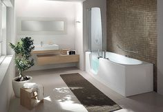 Teuco walk-in bathtub shower combo Bathrooms Remodel, Bathroom Interior Design, Shower Tub, Beautiful Bathrooms, Walk In Tub Shower, Walk In Bathtub, Small Bathroom Remodel, Bathtub Shower Combo