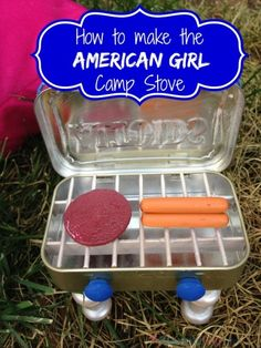 Make the American Girl Camp Stove replica following this tutorial. You can use what you already have around the house for this doll camp stove.