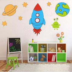 Space Ship Earth Rocket  Nursery Wall Stickers Art Childrens Decal Kids Bed NEW