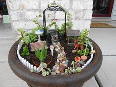 """the first miniature/fairy garden that ive made. For my mom for mothers day last year."" Such a neat idea for my Mumsy this year! Small Garden, Fairy, Plants, Miniature Garden, Flowers, Succulents, Outdoor Gardens, Garden, Backyard"