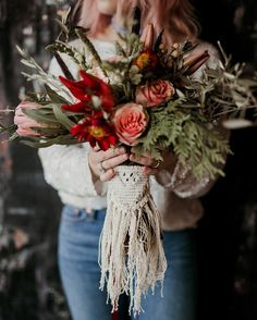 boho fall wedding bouquet ideas with macrame fall wedding Boho Chic Macrame Wedding Ideas to Love - EmmaLovesWeddings Bouquet Bride, Boho Wedding Bouquet, Bouquet Wrap, Fall Wedding Flowers, Floral Wedding, Wedding Day, Gypsy Wedding, Autumn Wedding, Forest Wedding