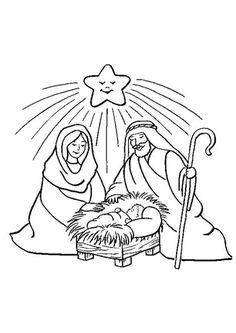 La belle étoile brille et sourit à la naissance de l'enfant Jésus, image à colorier