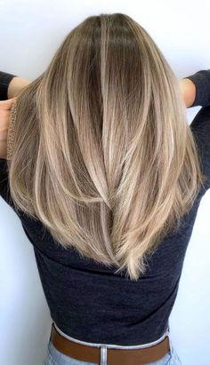 Brown Hair With Blonde Highlights, Blonde Hair Looks, Hair Color Highlights, Ombre Hair Color, Hair Color Balayage, Brown Hair Colors, Medium Ash Blonde Hair, Full Balayage, Blonde Light Brown Hair