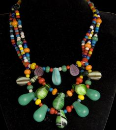 Old Peul Fulani wedding necklace made from old Bohemia, Czech, Venice trade glass beads. From Djenne, Mali