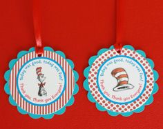12 Dr Seuss Cat in the Hat Theme Birthday by DreamPartyPaperie, $15.00
