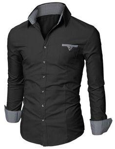 012960f0d3 Doublju Mens Slim Fit Cotton Flannel Tailored Shirt Black US X-Small   Asia  Small