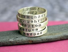 Personalized Stacking Name Ring with Birth Date by KerriAnnDesigns, $38.00