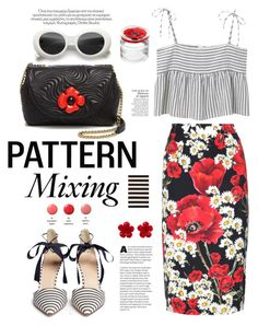 """Pattern Mix Master"" by hamaly ❤ liked on Polyvore featuring MANGO, Dolce&Gabbana, J.Crew, Boutique Moschino, Chanel, Kenzo, Therapy, DuÅ¡an, stripes and ootd"