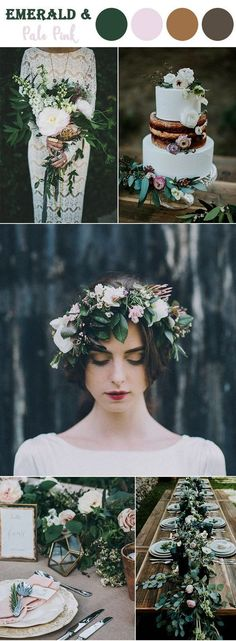 emerald green and pale pink woodland fall wedding colorsE