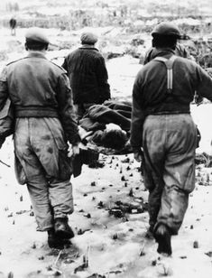 Pte K O\'Brian,1st Cdn casualty in Korean War, is carried to Commonwealth Brigade Field Ambulance.He died en route