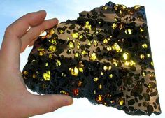 This Esquel meteorite was found in Chubut, Argentina in 1951 by a rancher digging a cattle pond. A single mass weighing more than 700 kilograms was found. Despite more than 50 years of searching, no more pieces of this rare pallasite have been recovered.