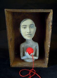 6 by Cecile Perra Textile Sculpture, Sculpture Art, Puppet Making, Found Object Art, Assemblage Art, Textile Artists, Art Plastique, Textiles, Box Art