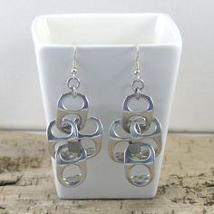 pop tabs earrings  chainmaille and duct tape by tabsolute on Etsy, $7.00