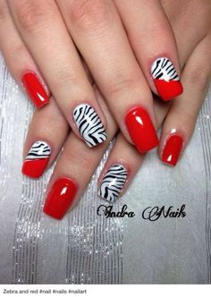Image via Red nail art designs examples Image via Red nail art and beautiful patterns Image via Christmas style red nails design Image via Zebra and red nail art designs Zebra Nail Designs, Cute Nail Designs, Nails Design, Awesome Designs, Great Nails, Fabulous Nails, Do It Yourself Nails, Zebra Nails, Red Nail Art
