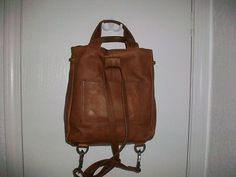 FOSSIL Brown Leather Backpack Purse Silver Key Zipper Pull Vintage ...