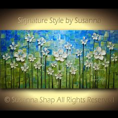 ORIGINAL Large Abstract Contemporary White Daisy Flowers Oil Painting Modern Palette Knife Fine Art by Susanna 48x24 Ready to Hang