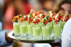 OMG Lifestyle Blog | 8 Beautifully Garnished Gazpacho Shooters |Green Gazpacho Shooters with Caprese Skewers