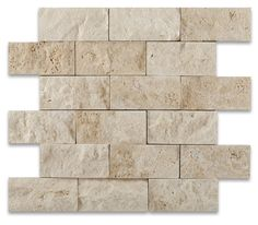 "Buy 2 X 4 Ivory Travertine Split-Faced Brick Mosaic Tile Sample Product Attributes - Item: Premium (SELECT) Quality 2"" X 4"" LIGHT / IVORY TRAVERTINE SPLIT-FACED BRICK MOSAIC TILE (ON-MESH) - Dimension"