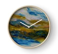 Wall Clock, print,artistic,decorative,items,modern,beautiful,awesome,cool,home,office,wall,decor,decoration,theme,picture,stylish,classy,gifts,presents,ideas,for sale,colorful,white,blue,yellow,abstract,redbubble