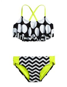 Dot Stripe Flounce Bikini Swimsuit just got this swimsuit yesterday for next year Bathing Suits For Teens, Summer Bathing Suits, Swimsuits For Teens, Cute Bathing Suits, Summer Suits, Cute Swimsuits, Flounce Bikini, Bikini Swimsuit, Bikini Set