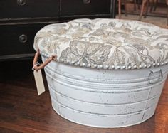 wash tub pillow ottoman | kind wash-tub, painted and distressed, tufted cocktail storage ottoman ...