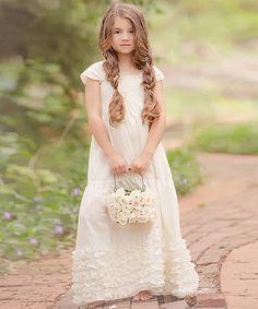 Loving this White Eleanor Linen-Blend Dress - Infant, Toddler & Girls on #zulily! #zulilyfinds