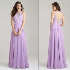 2016 Lavender Bridesmaids Dresses Lace Top Wedding Guests Party Gowns A Line Long Chiffon Evening Dress Lilac Bridesmaid Cheap Bridemaid Dress Bridesmaid Dress Uk From Firstladybridals, $63.31| Dhgate.Com