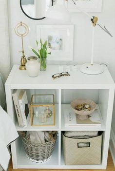 IKEA - KALLAX, Shelf unit, high gloss white, You can use the furniture as a room divider because it looks good from every angle. Different wall materials require different types of fasteners. Use… Daha fazlası Diy Home Decor Rustic, Cheap Home Decor, Bedroom Storage, Bedroom Decor, Modern Bedroom, Bedroom Ideas, Master Bedroom, Master Suite, Living Room Furniture