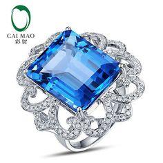 Flawless 22.68ct Topaz 14K White Gold Diamond Engagement Ring