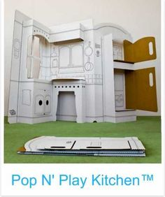 pop up cardboard kitchens, cars, etc.  color it, play with it, and then toss when it's boring.