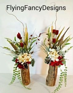 Wood Log Set Silk Floral Flower Arrangements Red, Cream, Feathers Mantel Wedding in Home & Garden | eBay