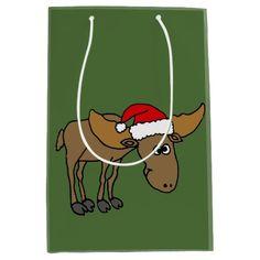 Funny Moose in Santa Hat Christmas Gift Bag #Christmas #moose #giftbag #funny And www.zazzle.com/tickleyourfunnybone*