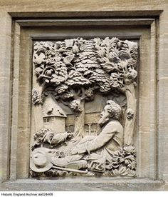 Exterior detail of relief of William Morris on north elevation, Memorial Cottages, Kelmscott, Oxfordshire Date 09 Sep 2001 Photographer: Michael Hesketh-Roberts Beautiful Places In England, Cotswold House, Morris Homes, Historical Images, True Art, Arts And Crafts Movement, William Morris, Wood Art, Free Photos