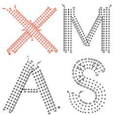 Basic Crochet Stitches, Crochet Chart, Thread Crochet, Crochet Motif, Crochet Appliques, Crochet Alphabet, Crochet Letters, Crochet Fruit, Cute Crochet