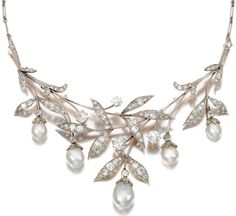 An early 20th century diamond, pearl and platinum leaf and flower bud necklace.