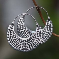NOVICA Artisan Crafted Sterling Silver Hoop Style Earrings ($43) ❤ liked on Polyvore featuring jewelry, earrings, hoop, sterling silver, dot earrings, novica jewelry, novica earrings, sterling silver earrings and sterling silver jewelry