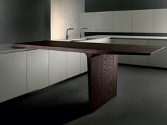Kitchen with peninsula without handles HD23 Collection by Rossana | design Massimo Castagna