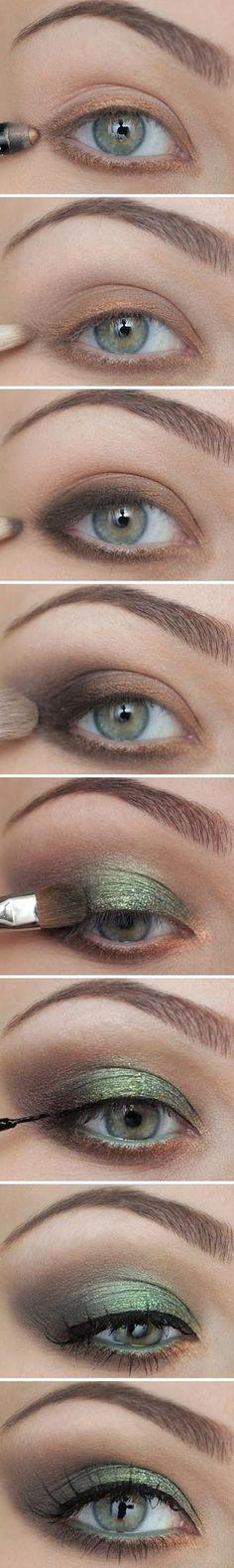 green & brown look #eye #makeup #pictorial
