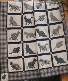 Take a look at this splendid tshirt quilts - what an inventive concept Dog Quilts, Animal Quilts, Quilt Baby, Cat Crafts, Sewing Crafts, Quilting Projects, Sewing Projects, Cat Quilt Patterns, Cat Applique
