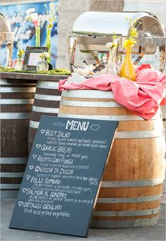 chalkboard wedding menu sign ideas http://www.weddingchicks.com/2013/09/05/holland-ranch/