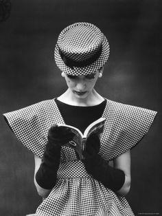Nina Leen. Vintage, Checks, black and white, long black gloves, book, couture, fashion