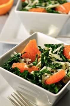 Healthy Kale and Cara Cara Orange Salad with Cheese, Pumpkin seeds and Lemon Vinaigrette.