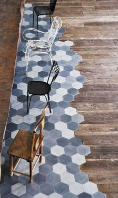 Great combination of tiles & wood Handmade tiles can be colour coordinated and customized re. shape, texture, pattern, etc. by ceramic design studios