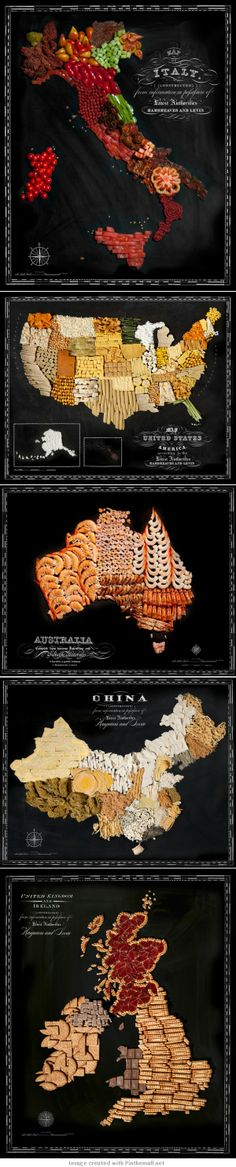 Delicious Maps of Countries Around the World Created From Native Foods by Caitlin Levin and Henry Hargreaves - created via http://pinthemall.net