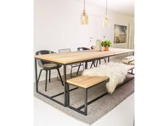 """Brandal"" industrial timber table / base made of steel Furniture, Kitchen Design Small, Home Living Room, Indian Home Decor, Modern Dining Table, Dining Table In Kitchen, Dining Table, Table, Buy Modern Furniture"
