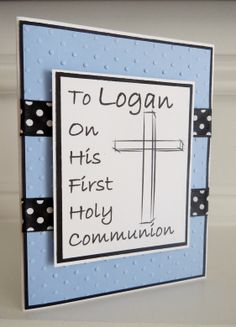 Personalized First Communion Card.  Blue and black.  Inside reads:May Gods Blessings be with you Today and Always!