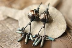 Solid Copper Earrings With Soldered Triangles by SparrowtaleStudio, $30.00