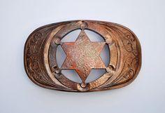 Sheriff Handmade Belt Buckle Western Cowboy Copper by Metallstudio, $610.00
