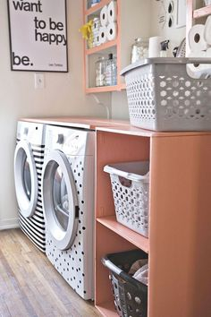 Lay a piece of wood across the top of your front-loading washers for an instant countertop.